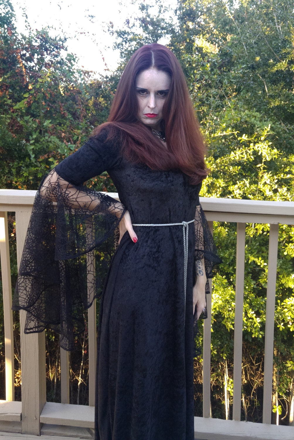 Halloween DressMedieval GownElvish DressGothic Dress Pagan Gown spider web lace