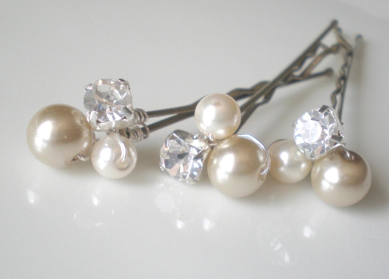 Bridal Hair With Pins : Bridal rhinestone ivory pearl hair by blossomsandlace