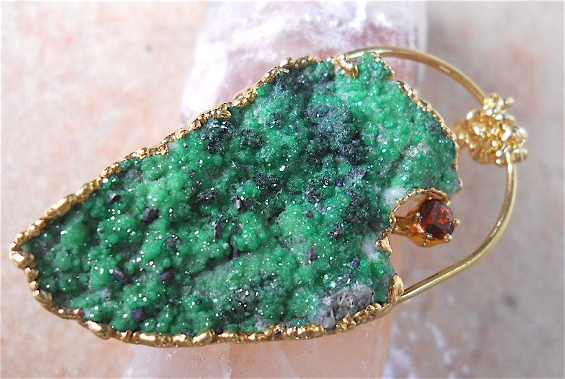 Natural Green Uvarovite Druzy Pendant Necklace by YOURDAILYJEWELS from etsy.com