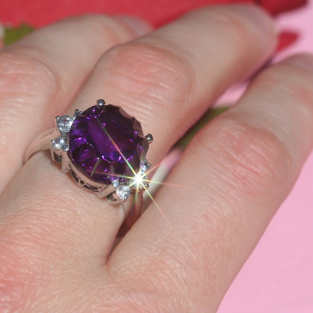 Amethyst and White Sapphire Cocktail Ring - 11 Carat Fancy Cut Gemstone - LS905