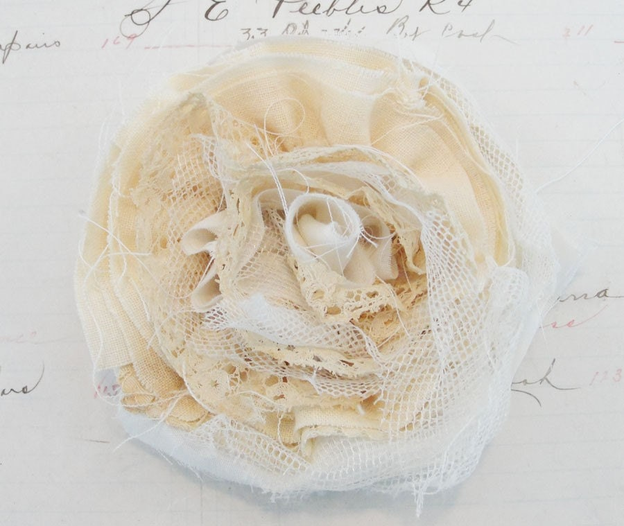 Large Tattered Cream and Lace Vintage Shabby Rosette Flower