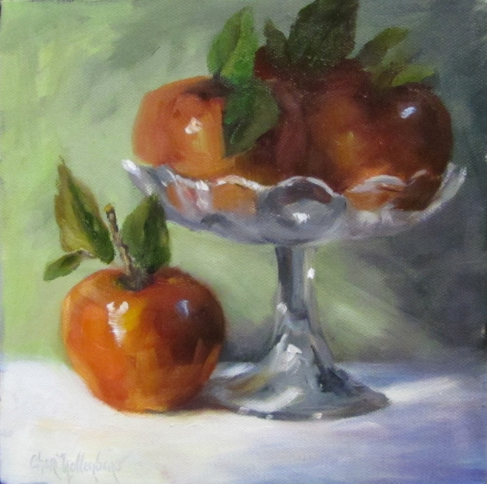 Apples and Clear Compote - Original Oil Painting