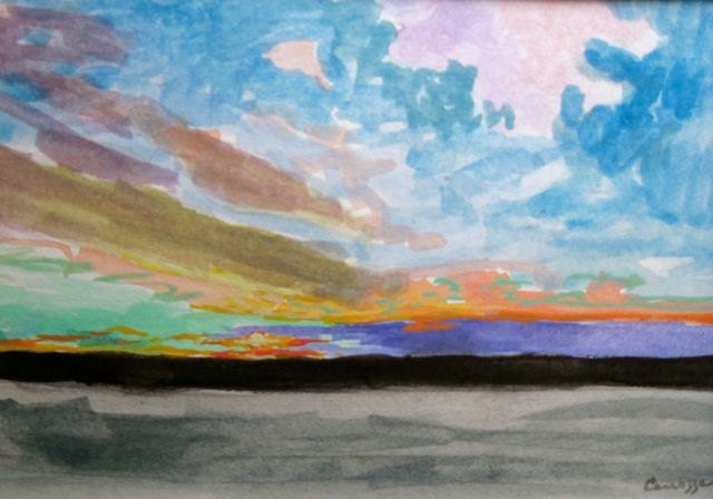 "Watercolor Painting""Beautiful Dawn ""- Original Painting.  4.5 x 6.5 inches"