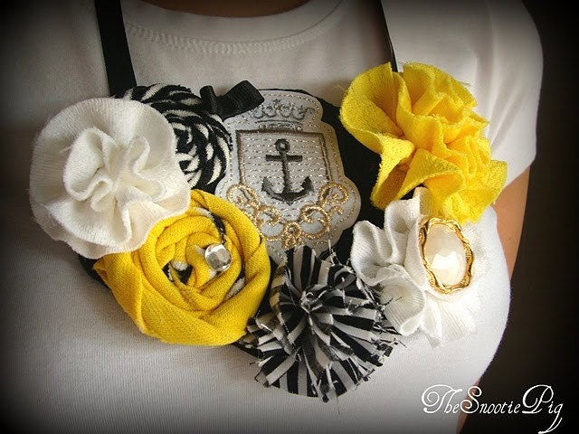 Free Shipping Sail Away Yellow,Black and Gold Nautical Sailor Bib Necklace