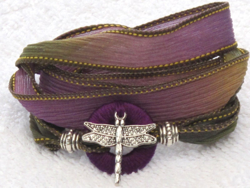 Silk Whirly Wrap Bracelet in with silver tone dragonfly spring purple green gold
