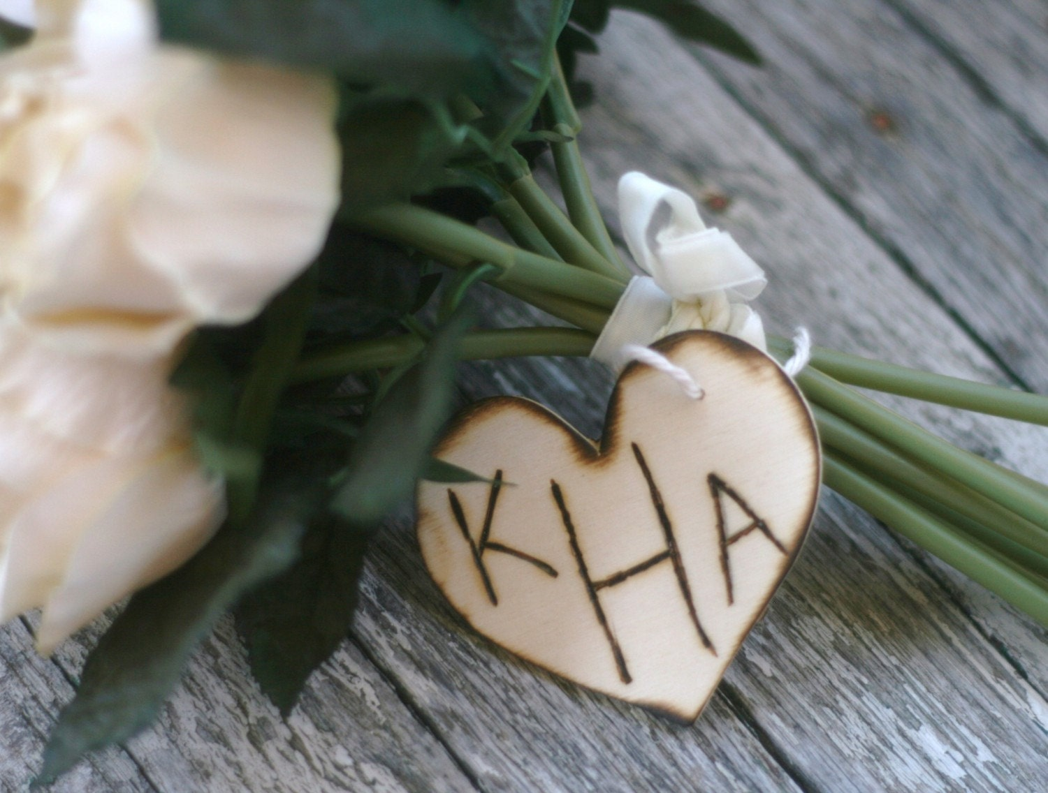 Personalized Monogrammed Wood Heart Wedding Bouquet Charm Sign Rustic Cinderella Renaissance Fairytale Wedding Decoration