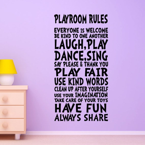 kids wall decal playroom rules decor art sign for by