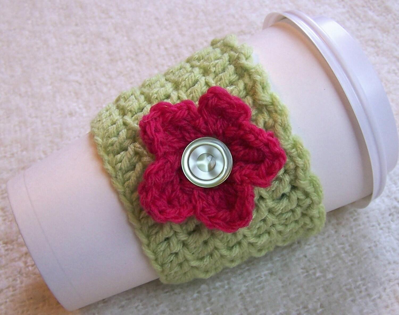 Crochet Cup Cozy - Shorty Coffee Sleeve - Seafoam Green Acrylic with Fushia Flower