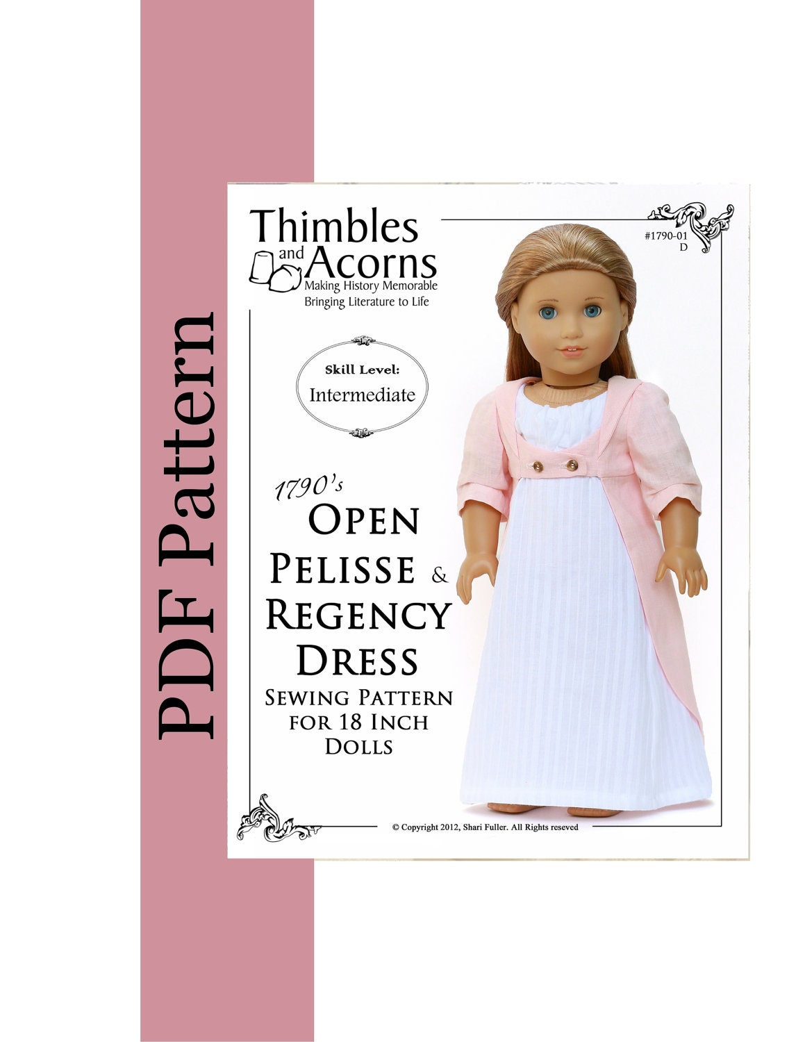 PDF Pattern for 1790s Open Pelisse and Regency Dress for 18 inch American Girl Doll