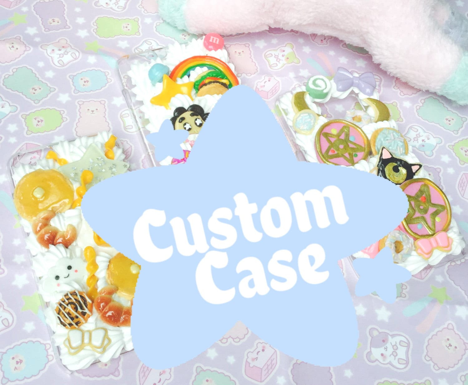 Custom Kawaii full Whipped Cream and NonWhipped Cream Decoden Phone Case for any iPhone model  Samsung phone model iPods Nintendo