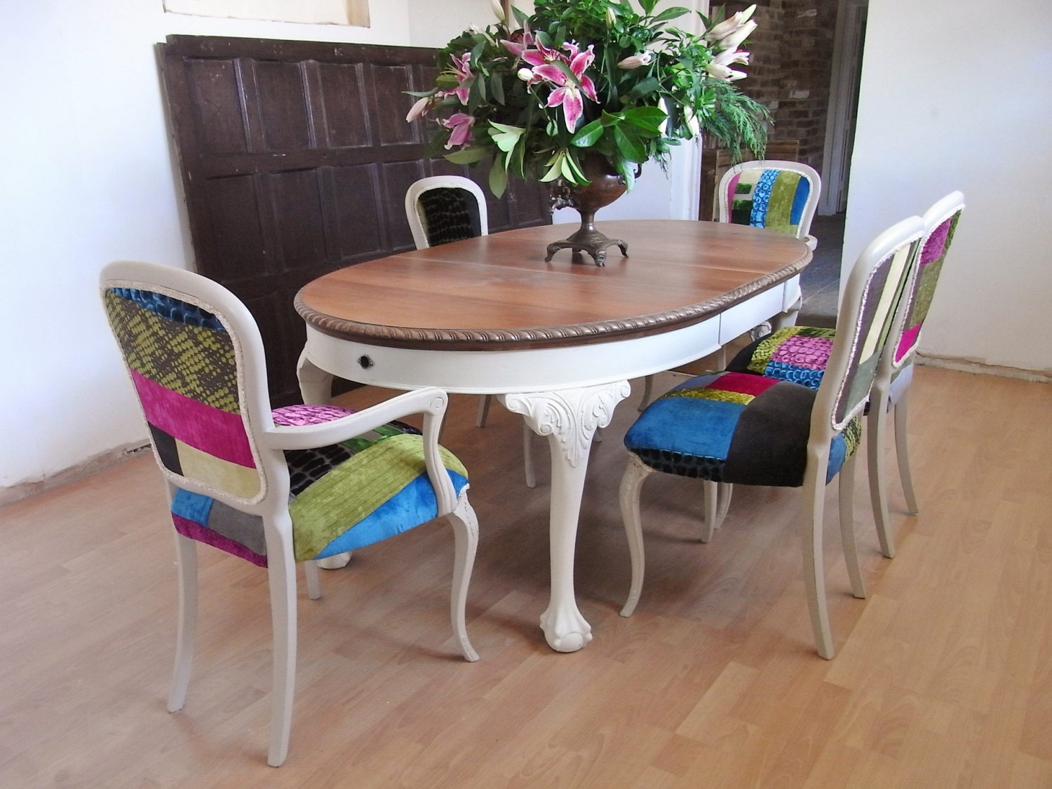 Shabby Chic Painted Antique Victorian  solid Mahogany dining Table and 6 French Country Patchwork chairs