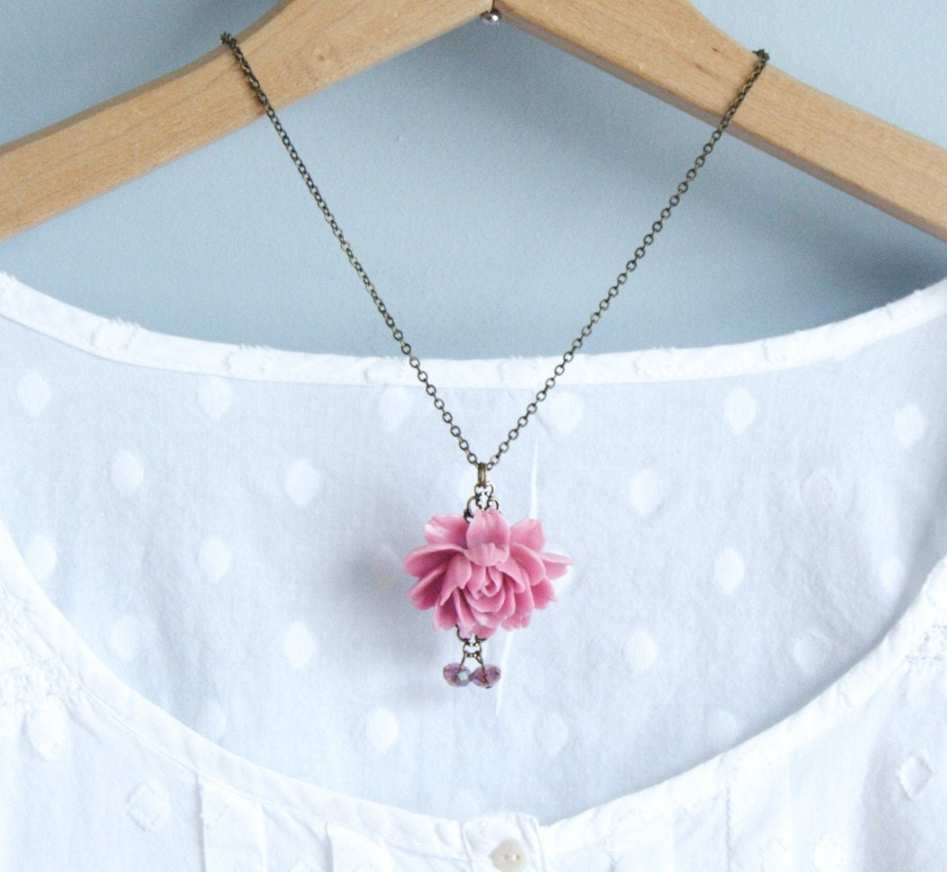 Collette Dusty Pink Rose Necklace