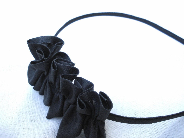 One Medium Short Ruffle Headband in Dark Grey