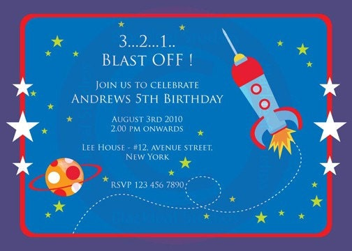 Out of space invitation diy printable birthday by for Space themed stationery