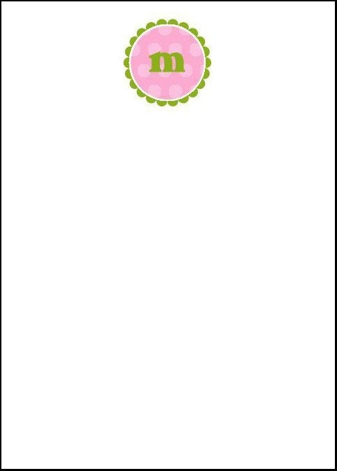 Personalized Note Pad 5x7 - Scalloped Circle Initial