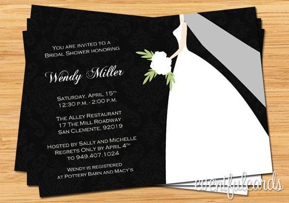 Black and White Damask Bridal Shower Invitation