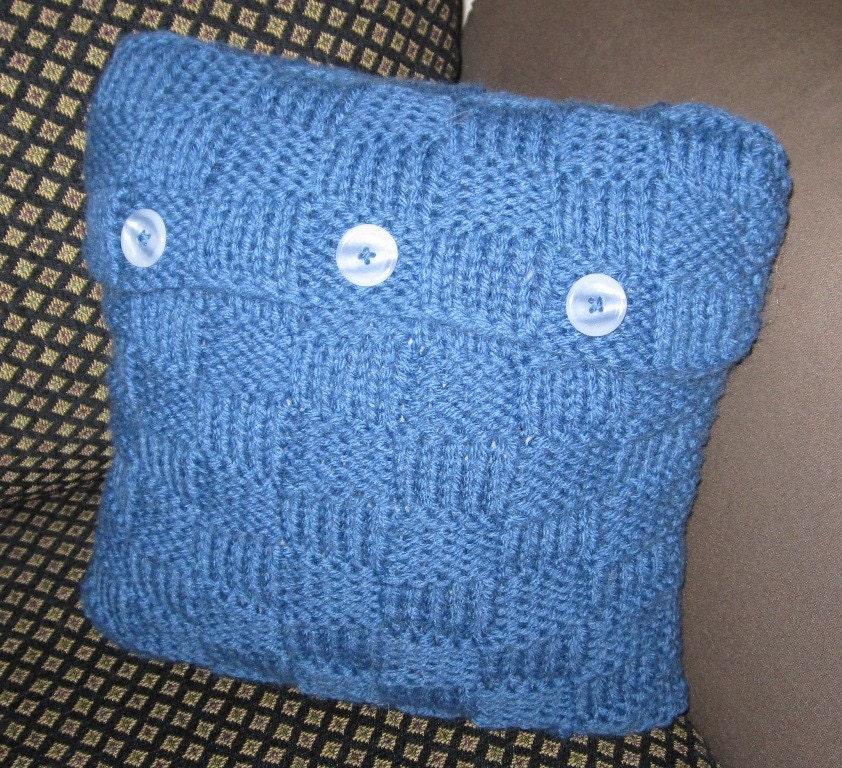 knit pillow, acrylic/wool blend (blue) 14x14