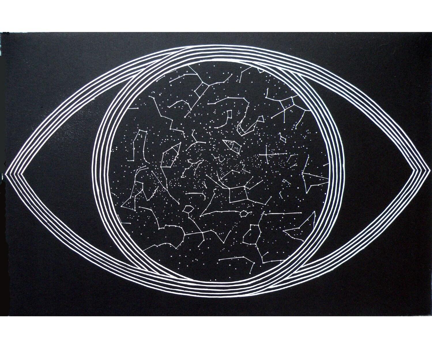 Cosmos (original woodblock print)