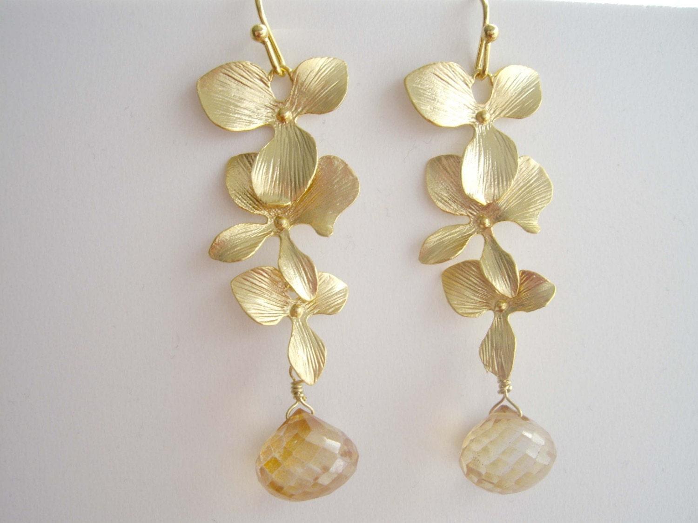 Flowers cascade earrings in gold (EW210)
