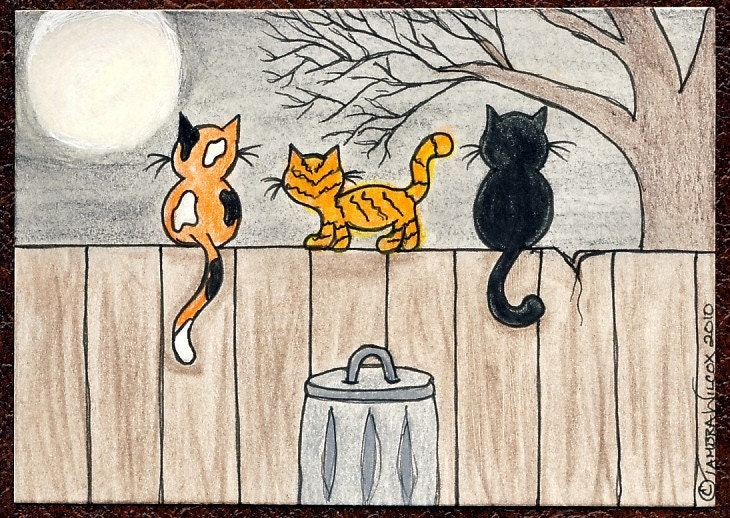 TAMBRA Cats Night Out CAT ACEO Painting