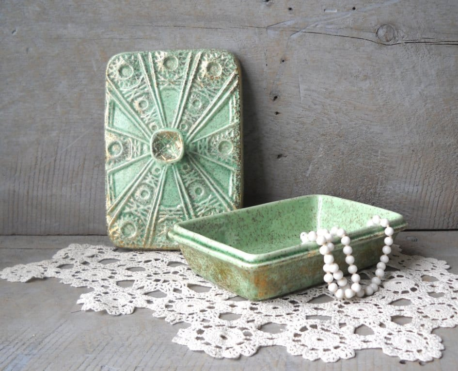 Vintage California Originals Dresser Box Green Pottery Gold Speckled Mid Century