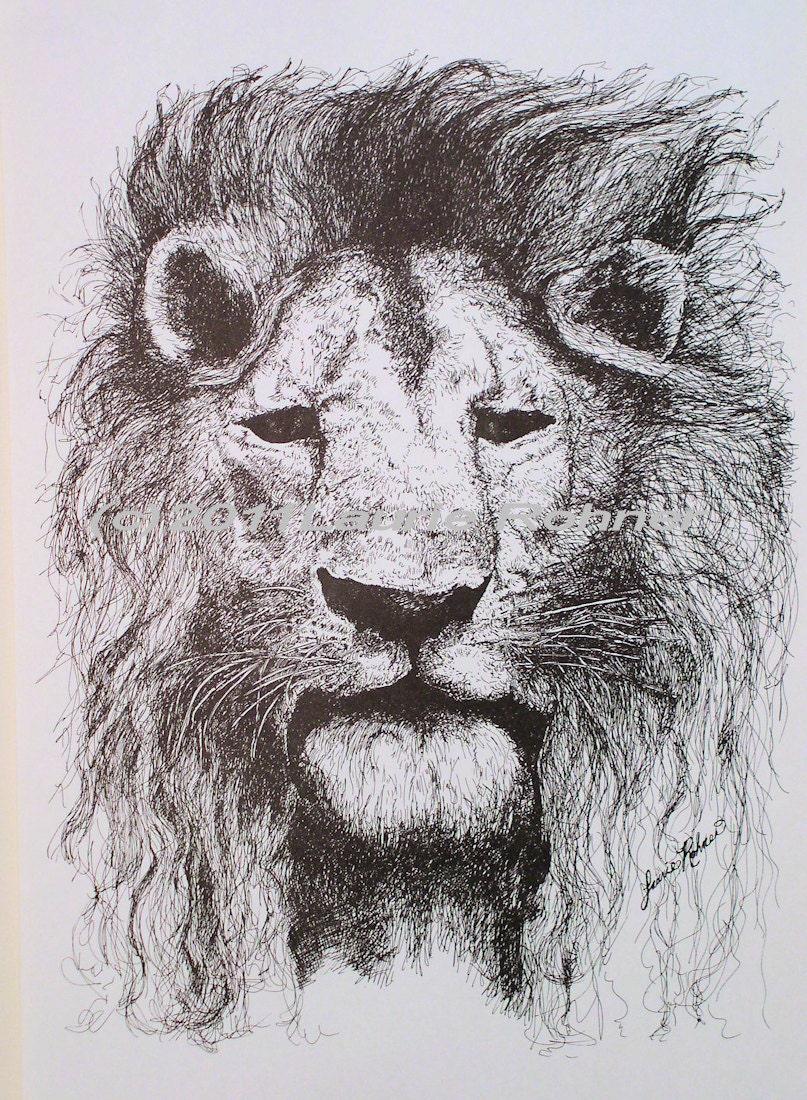 Print Ink Illustration Detailed Drawing Lion