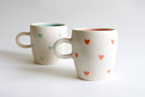 Coral and Mint Ceramic Mugs - SET OF TWO Heart Design  Handmade ceramics by RossLab - RossLab