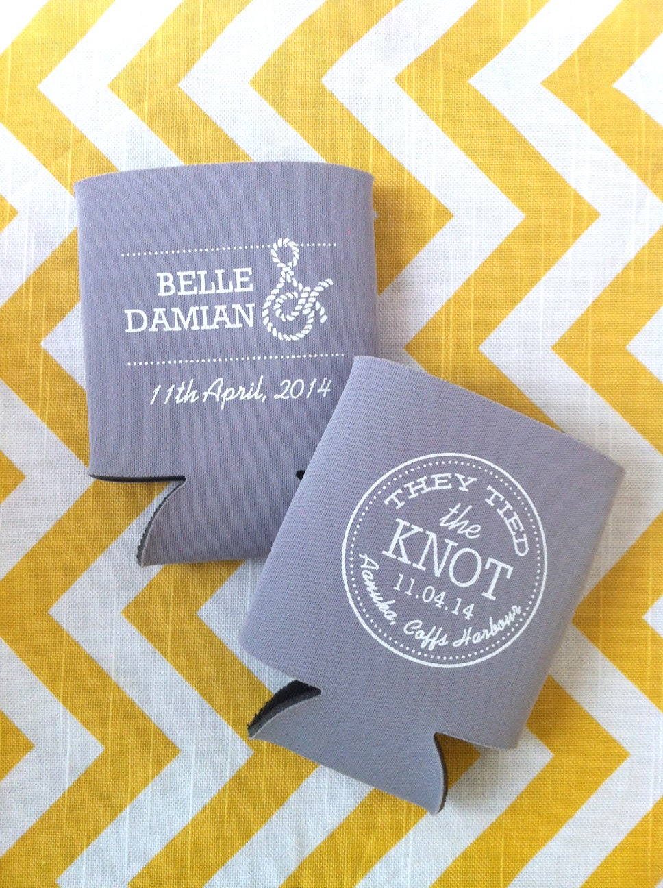 Tied The Knot Nautical Wedding Koozies Ampersand By RookDesignCo