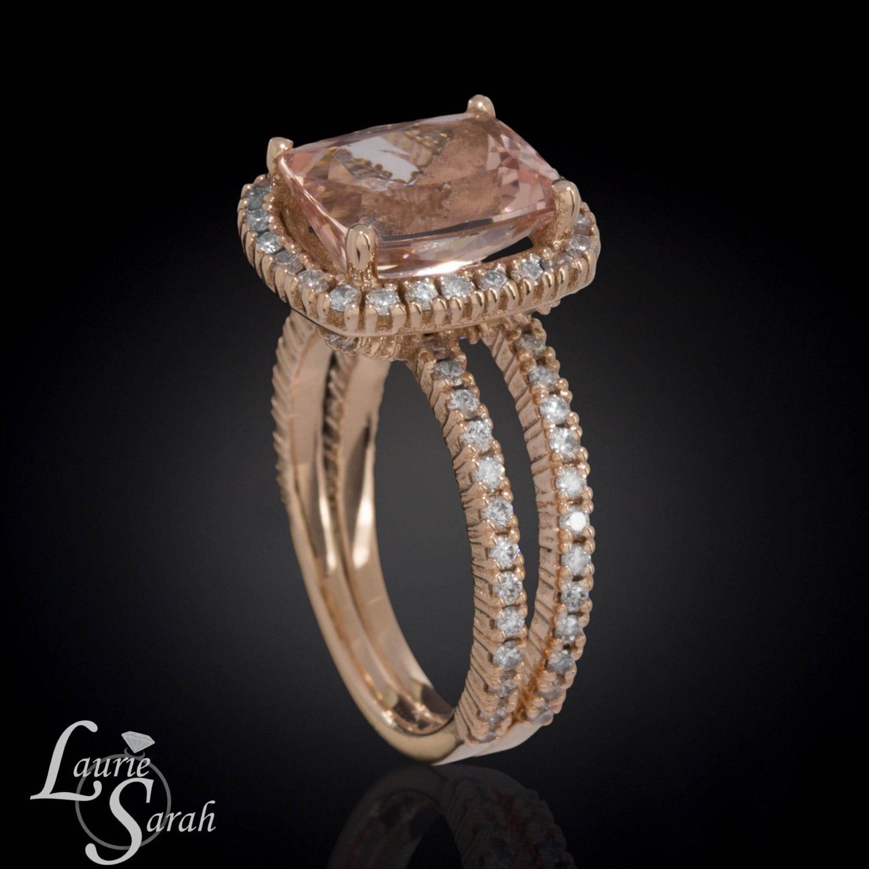 3 carat Engagement Ring Morganite Engagement by LaurieSarahDesigns
