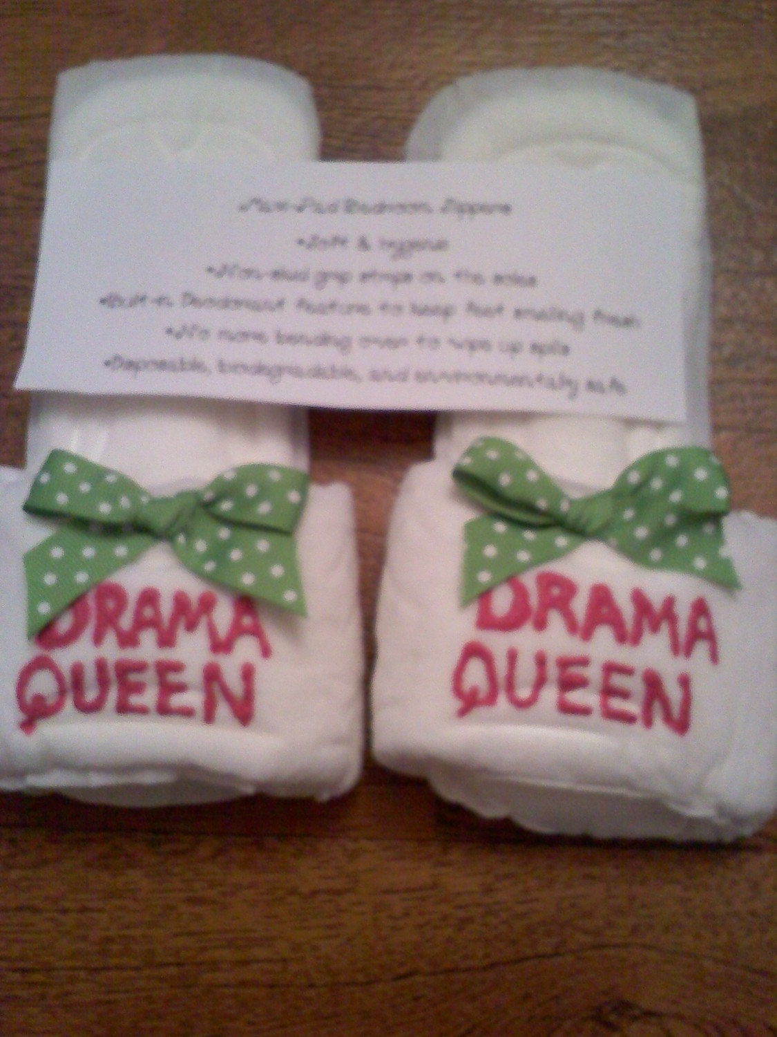 Drama queen maxi pad slippers by kraftsbydonna on etsy for Fun presents to make for christmas