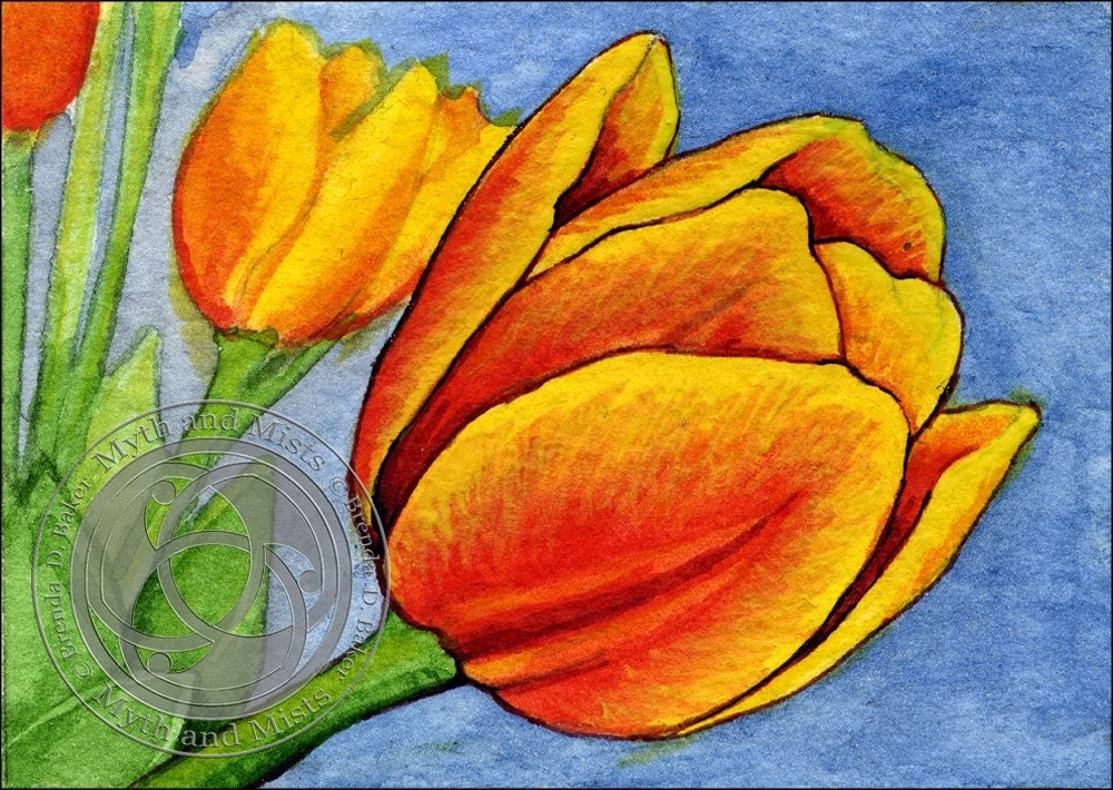 Spring Tulips II ACEO Original