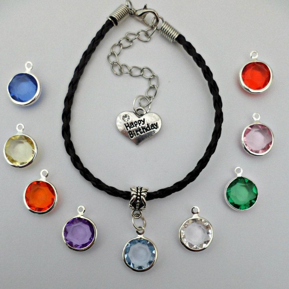 Plaited leather bracelet birthday birthstone love heart gem charm gift multi choice
