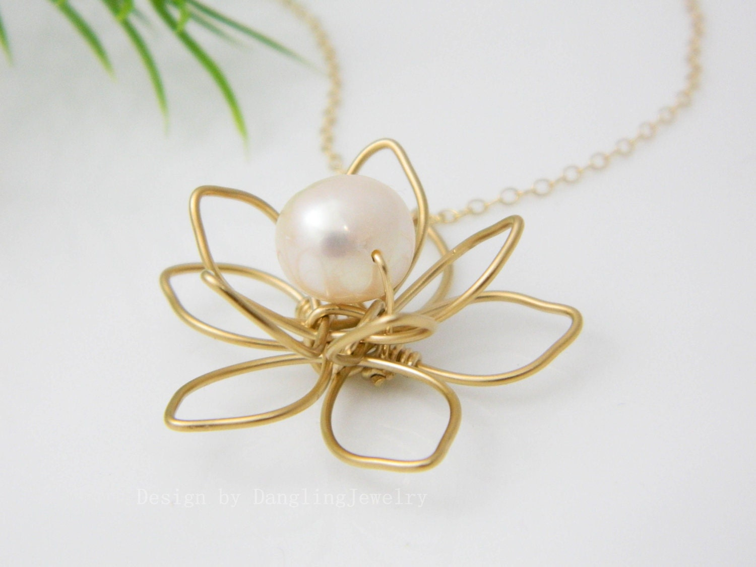 Gold Flower Necklace Pearl Necklace Bridesmaid by DanglingJewelry