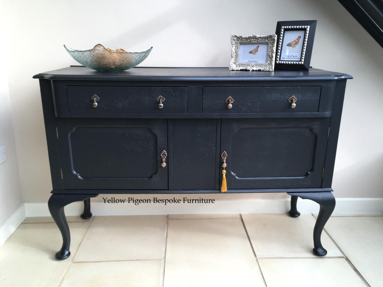 New Price!Elegant Antique Victorian Hand Painted Oak English Sideboard Buffet