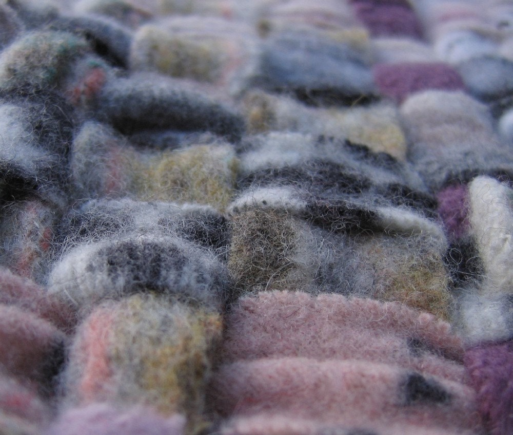 Handwoven Felted Recycled Wool Sweater Rag Rug