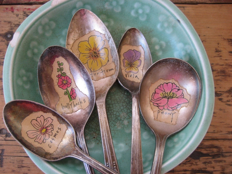 3 Custom Silver Spoon Flower Garden Markers