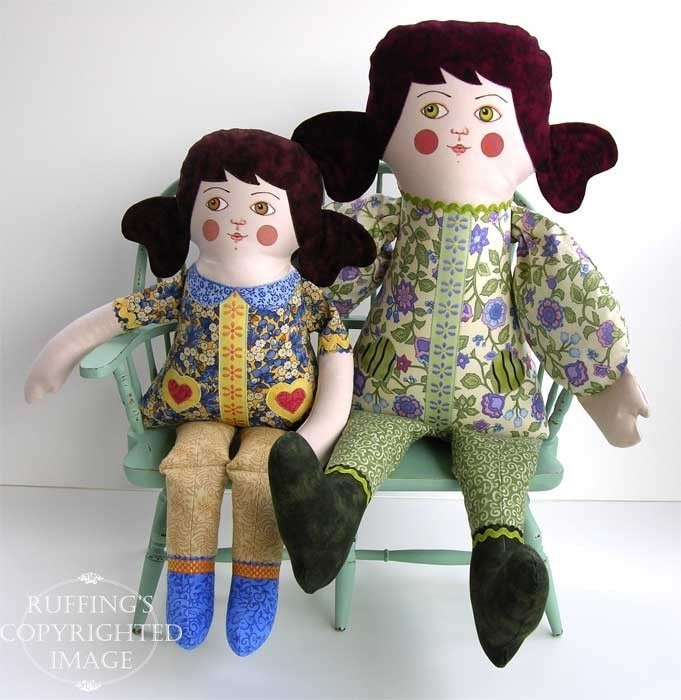 Goodnight Irene One-of-a-kind Original Art Doll by Elizabeth Ruffing, Yellow, Lavender, Green, and Blue, Ready-made