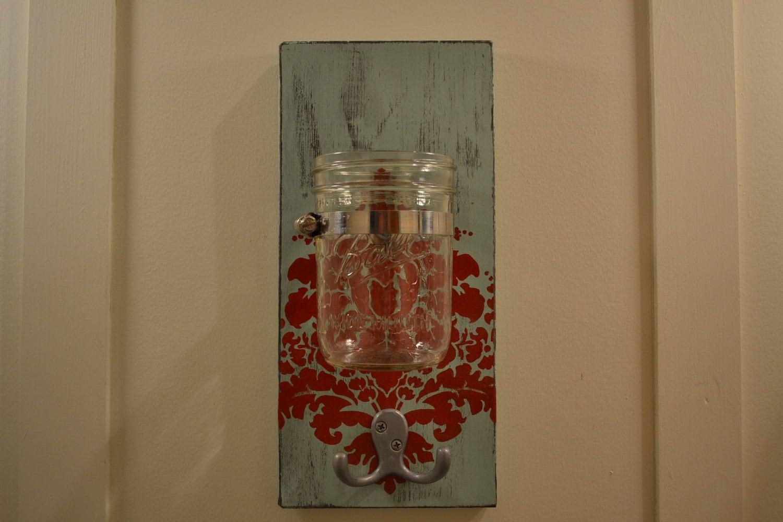 Mason Jar Wall Sconce Shabby Chic Vase Hook Damask by 2hoots