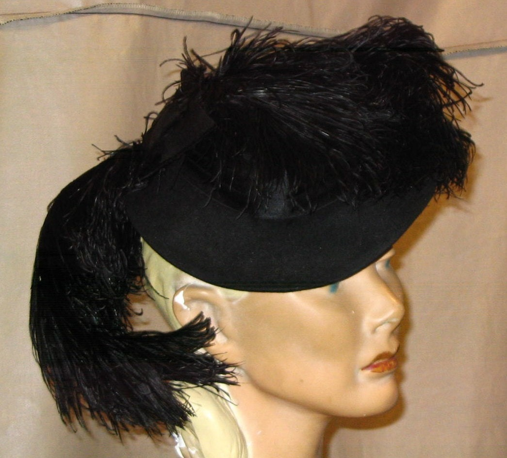 Mysterious Lady 30s 40s Black Ostrich Feather Hat Evelynvaron