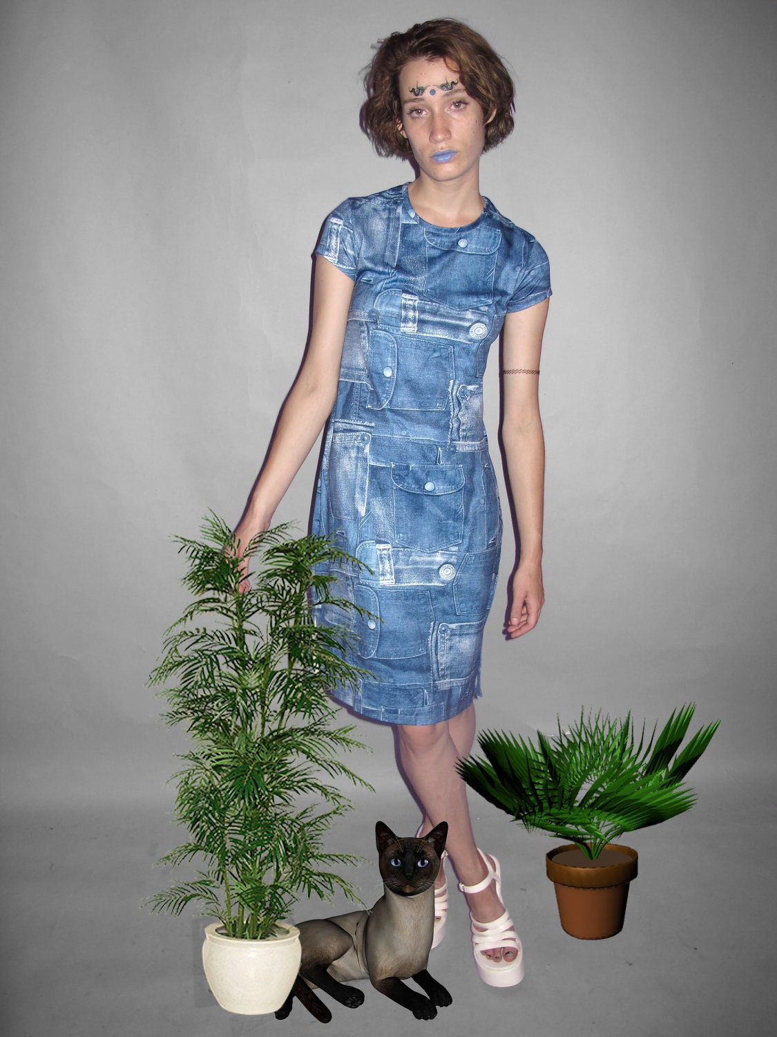 FAUX denim FAKE jean pockets DRESS M