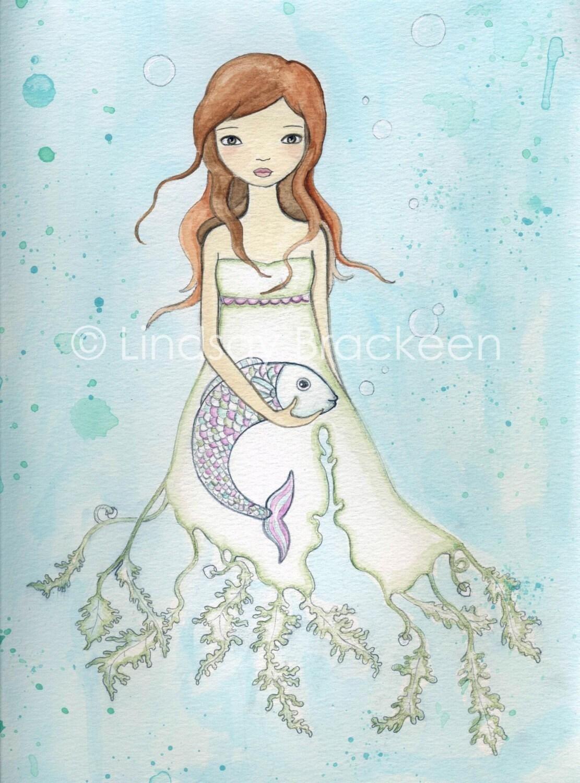 Fish Ocean Mermaid Pisces Art Print