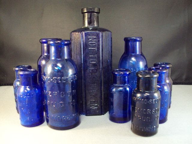 Cobalt Blue Glass Medicine Bottle Collection POISON and Seltzer - randomandrare1