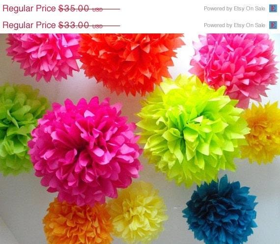 Birthday party decorations  10 Tissue paper pom poms by pomtree