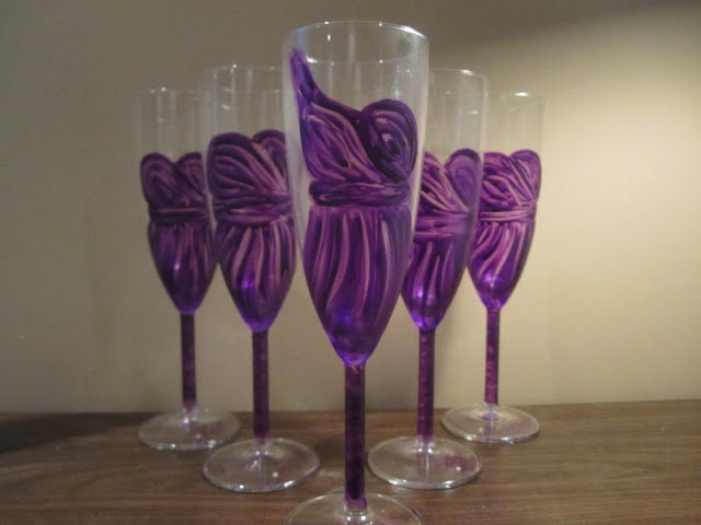 "Made to order - ""The Bridesmaids"" painted champagne glasses"