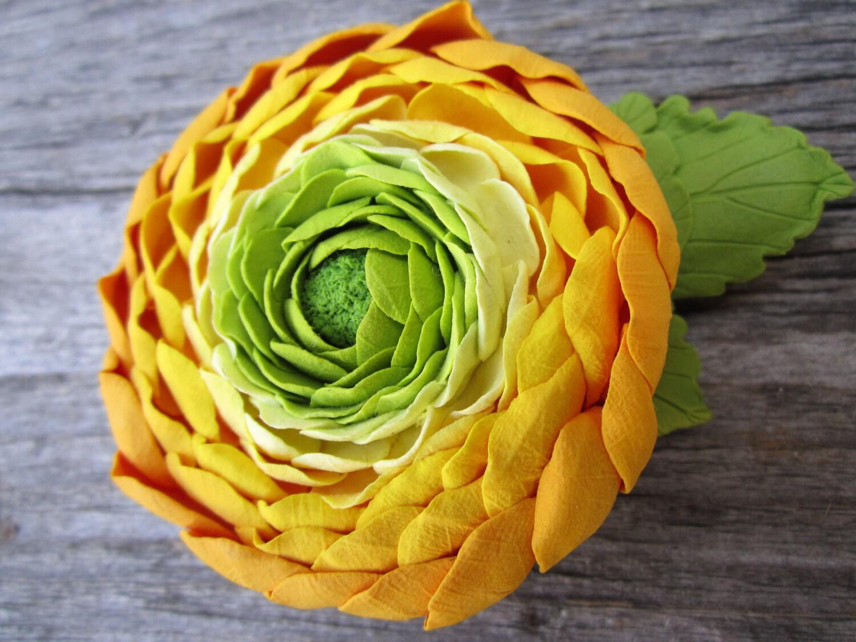 Make to order. Hair clip polymer clay flower. Yellow Ranunculus. - FloraAkkerman