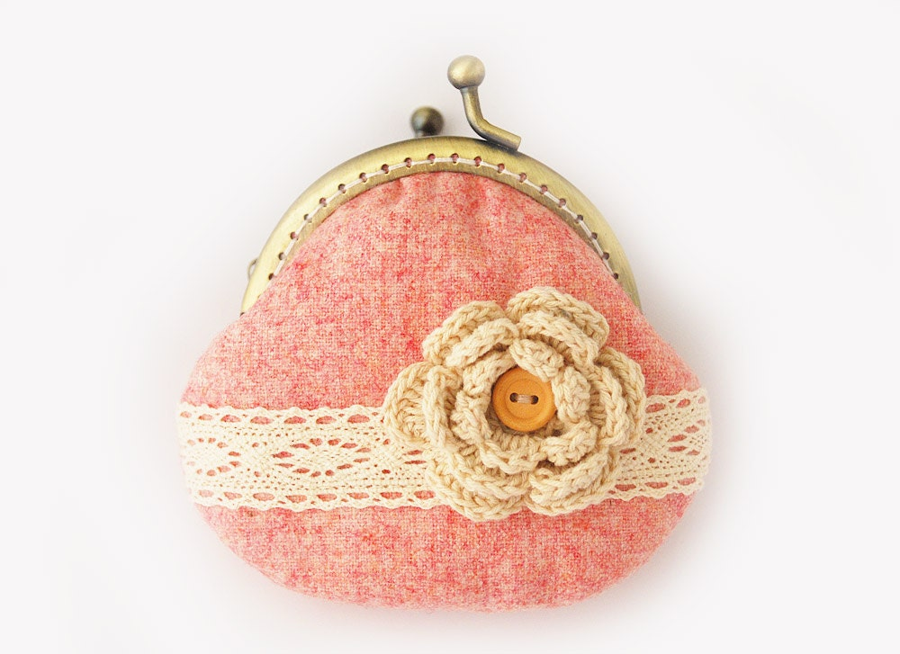 Lace and Crochet Flower Coin Purse Pastel hot pink - lazydoll