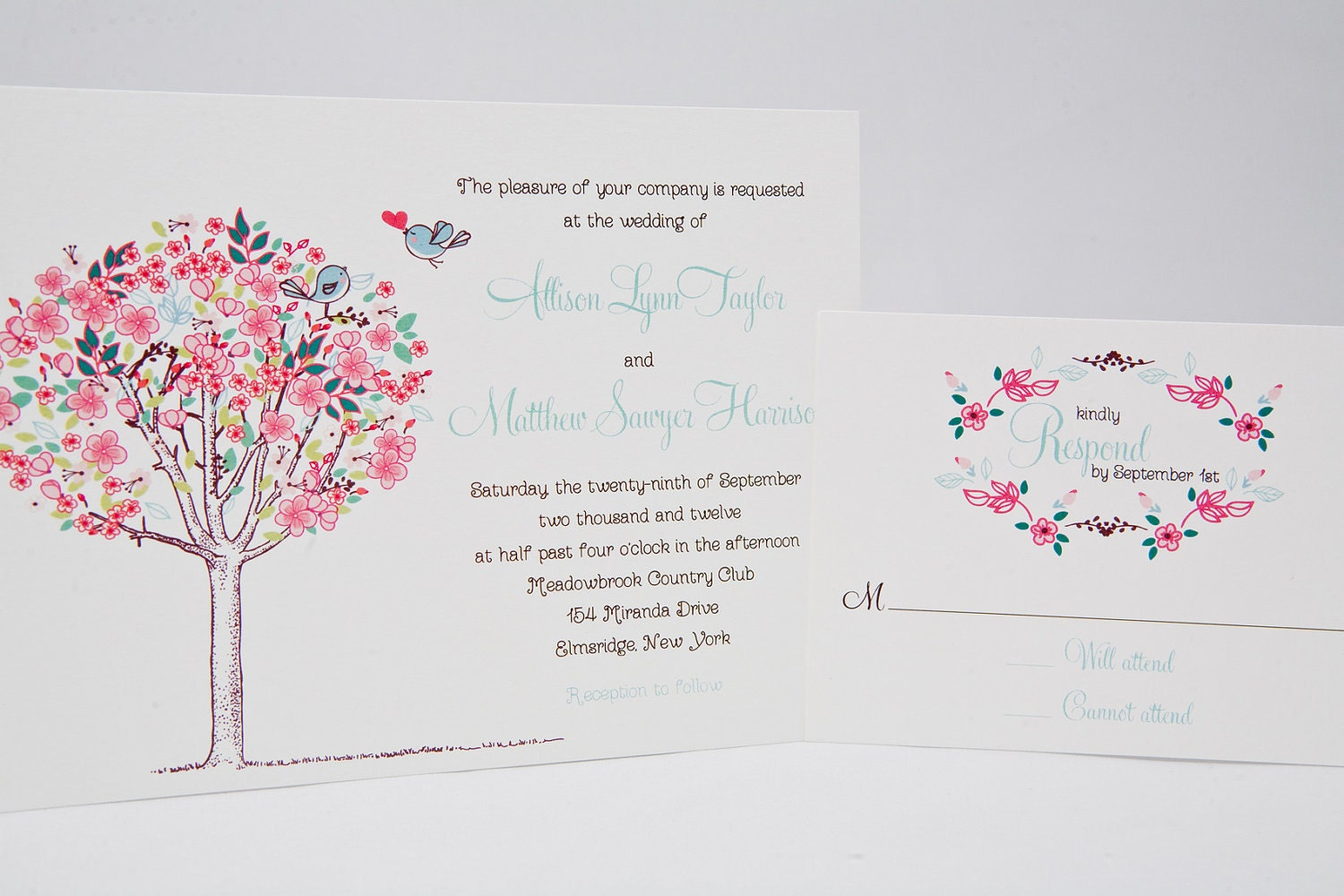 Romantic Wedding Invitations - Charming, Soft Floral Theme