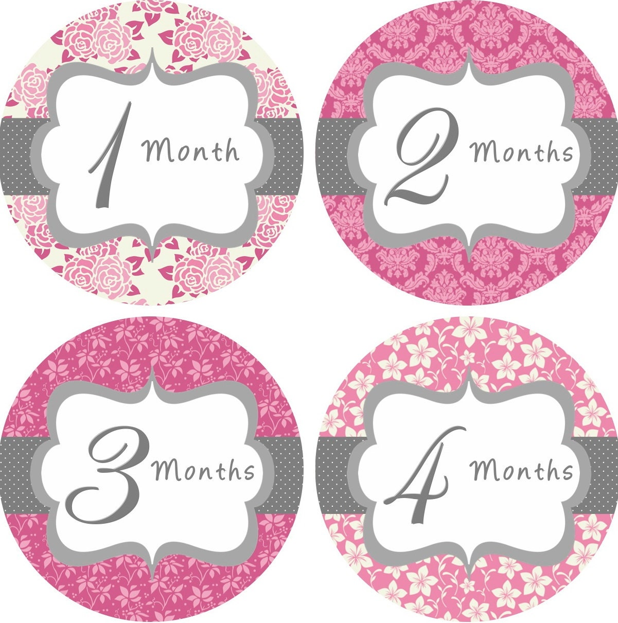 Party Started - Baby Month Stickers Baby Girl Monthly Onesie Stickers ...