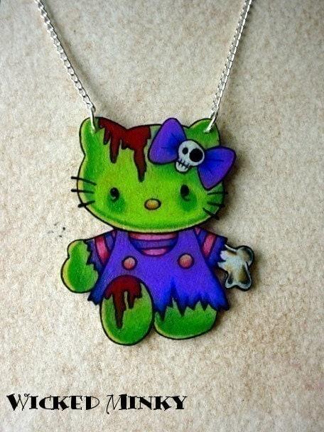 zombie hello kitty tattoo style necklace