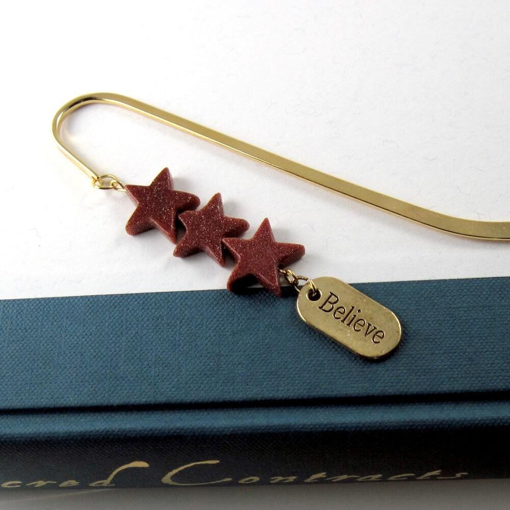 Goldstone Star Cascade Bookmark w Inspirational Charm - Reason to Believe